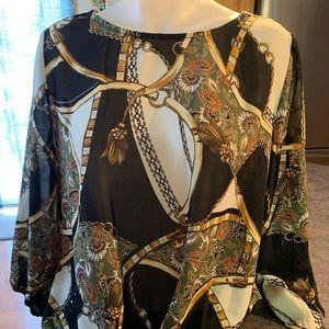 baroque  Black Olive Blouse Front Knot buchona